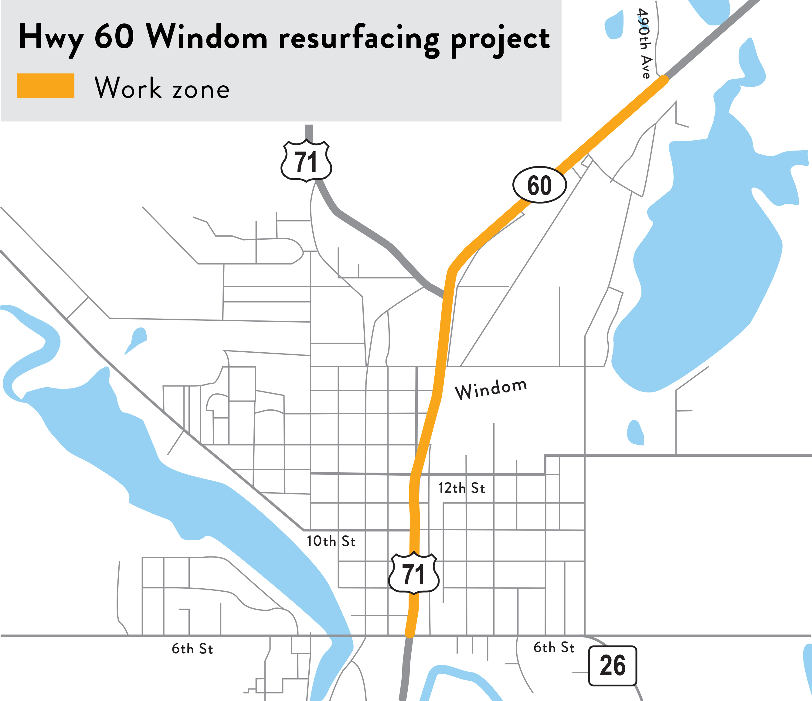 Hwy 60 in Windom project map