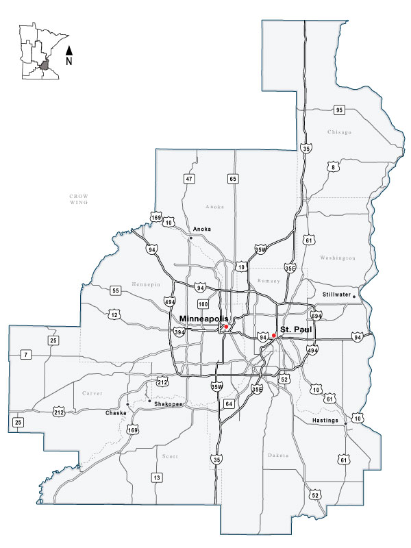 Map of MnDOT Metro District, covering the Twin Cities metro area